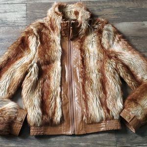 Vintage Flying Tomato Faux Fur / Leather Jacket